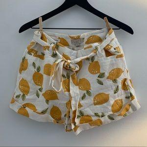 Loft tie waist lemon short, linen blend